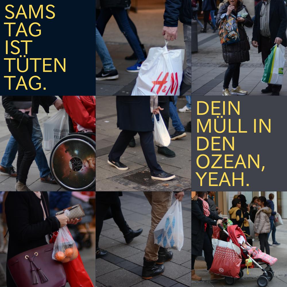 Samstag ist Tütentag. // Freie Verwendung mit Attribution für Umweltzwecke, Müllvermeidung,... (Und ja, mir ist klar, dass nicht jede gut erzogene deutsche Tüte gleich in diesem komischen Tütenmeer mitten im richtigen Meer landet... aber... aber? Tüten sind unnötiger Müll - EGAL WO SIE SPÄTER LANDEN.)