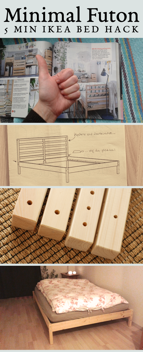 Super easy 5 min IKEA Tarva futon bed hack @undelisch Pinterest Image